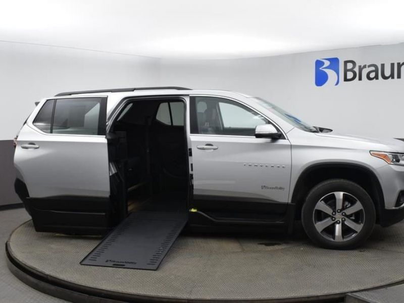 Silver Chevrolet Traverse with Side Entry Automatic In Floor ramp