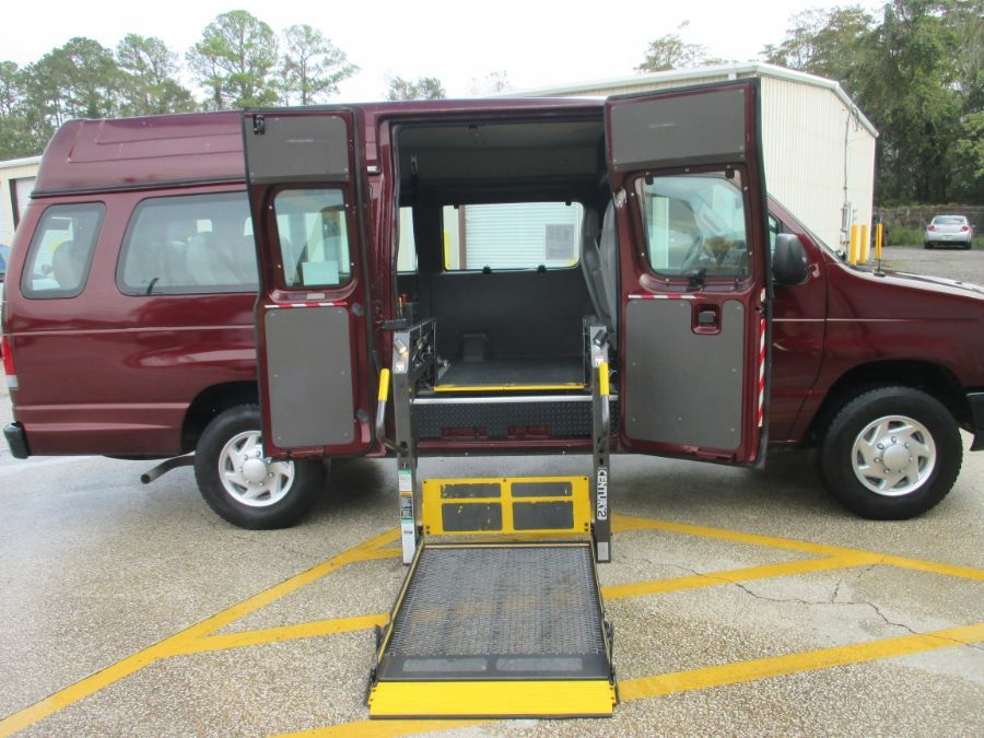 Red Ford E-Series Cargo with Side Entry Automatic  ramp