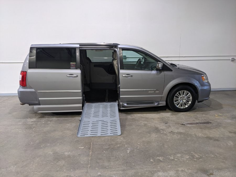 Silver Chrysler Town and Country with Side Entry Automatic  ramp