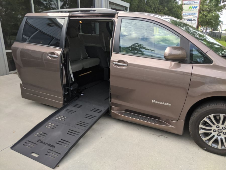 Brown Toyota Sienna with Side Entry Automatic  ramp