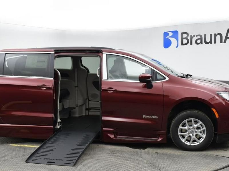 Red Chrysler Voyager with Side Entry Automatic Fold Out ramp