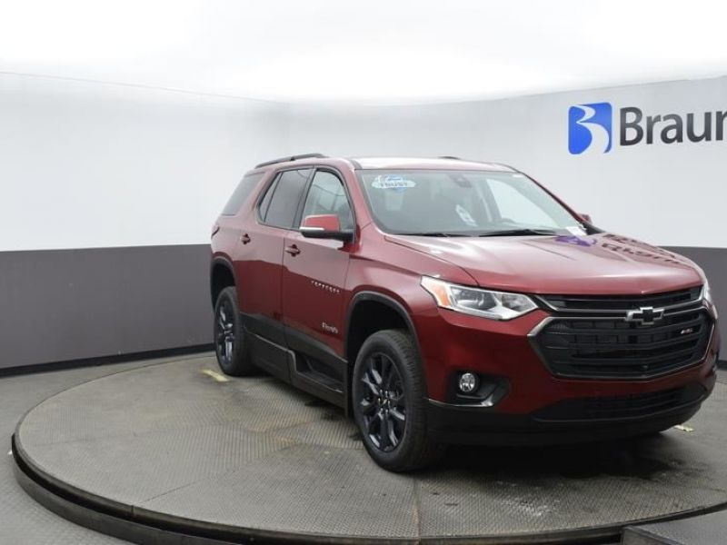Red Chevrolet Traverse with Side Entry Automatic In Floor ramp