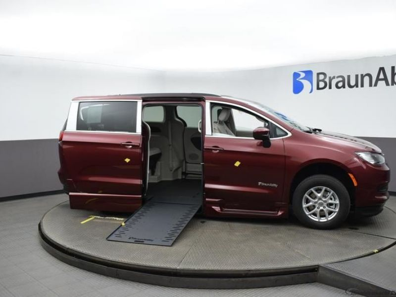 Red Chrysler Voyager with Side Entry Automatic In Floor ramp