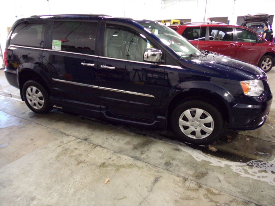 Blue Chrysler Town and Country with Side Entry Automatic In Floor ramp