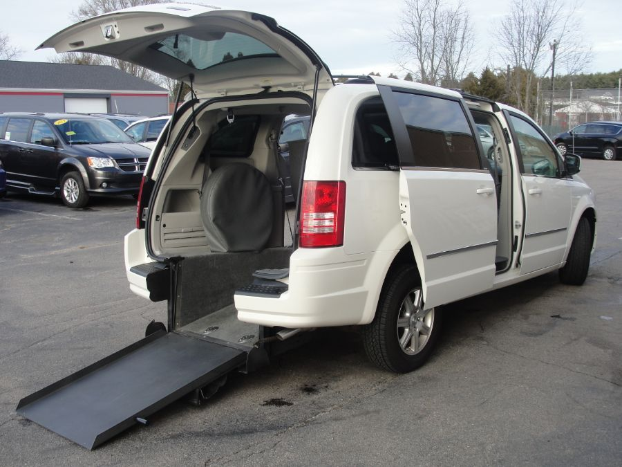 White Chrysler Town and Country with Rear Entry Manual  ramp