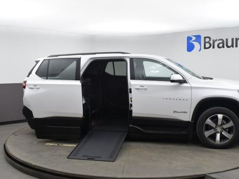 White Chevrolet Traverse with Side Entry Automatic In Floor ramp