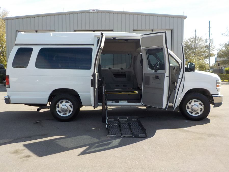 White Ford E-Series Wagon with Side Entry Automatic Fold Out ramp