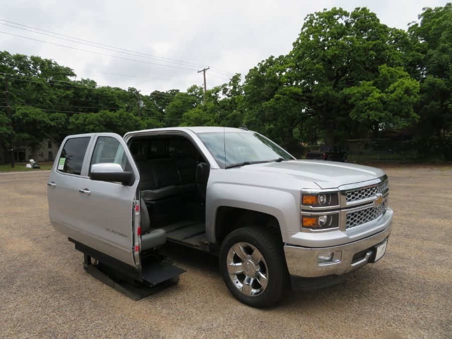 Silver Chevrolet Silverado 1500 with Side Entry Automatic  ramp