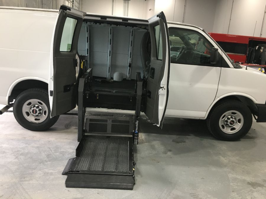 White GMC Savana Cargo with Side Entry Manual N/A ramp