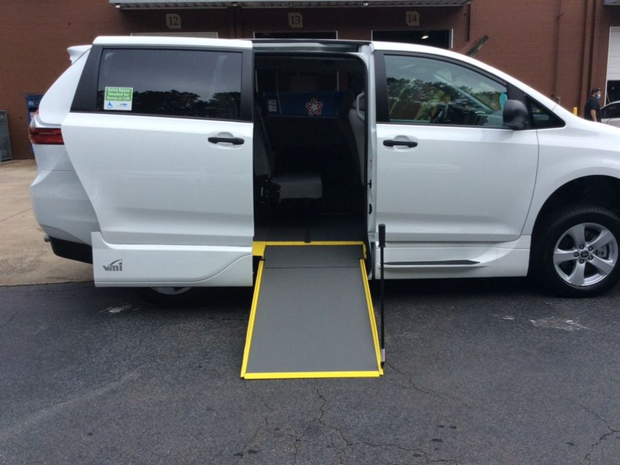 White Toyota Sienna with Side Entry Manual In Floor ramp