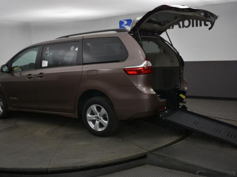 Brown Toyota Sienna with Rear Entry Manual Fold Out ramp