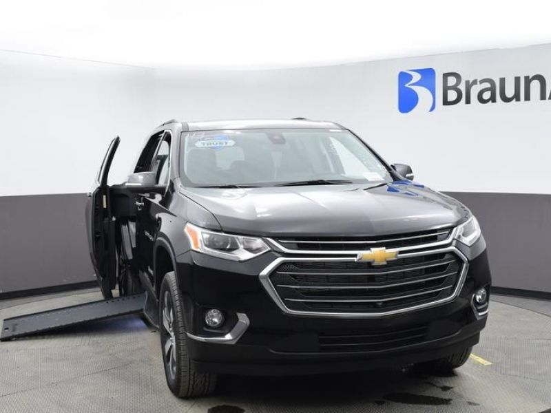 Black Chevrolet Traverse with Side Entry Automatic In Floor ramp