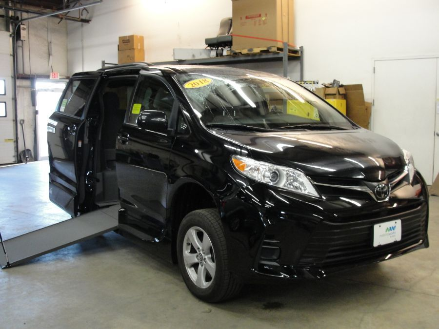 Black Toyota Sienna with Side Entry Manual In Floor ramp