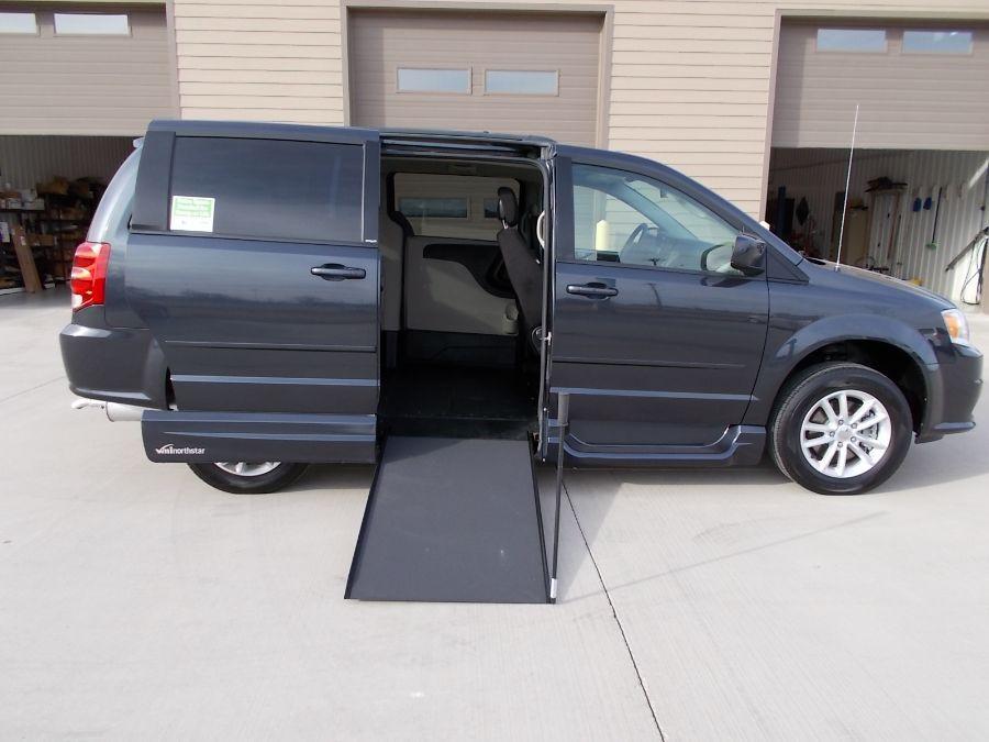 Gray Dodge Grand Caravan with Side Entry Manual In Floor ramp
