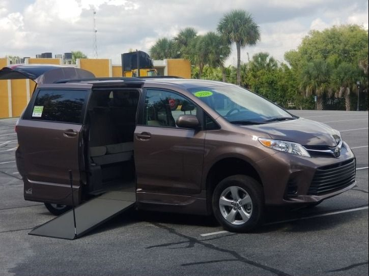 Brown Toyota Sienna with Side Entry Manual In Floor ramp