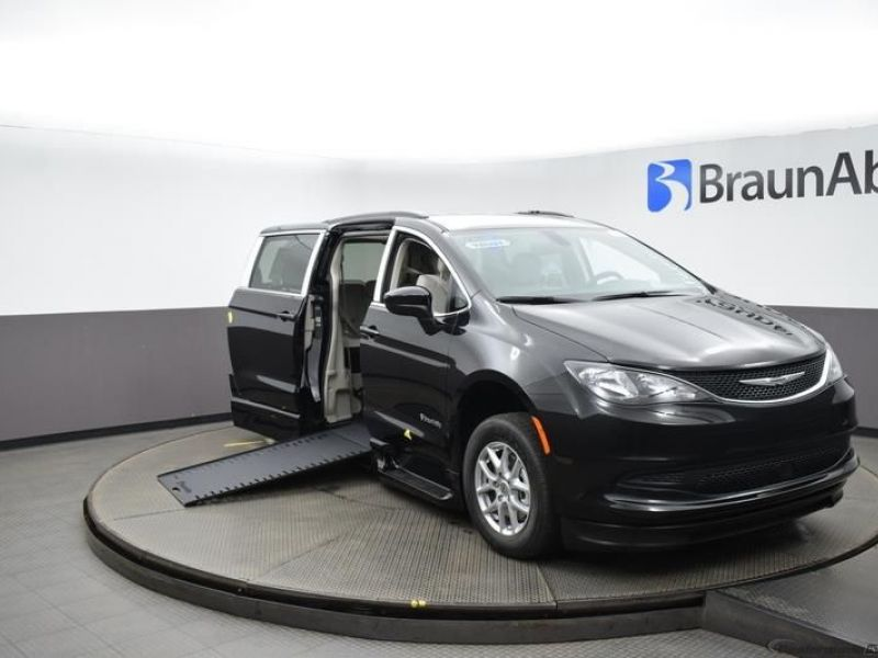 Black Chrysler Voyager with Side Entry Automatic In Floor ramp