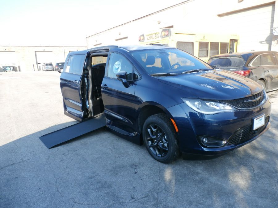 Blue Chrysler Pacifica with Side Entry Automatic In Floor ramp