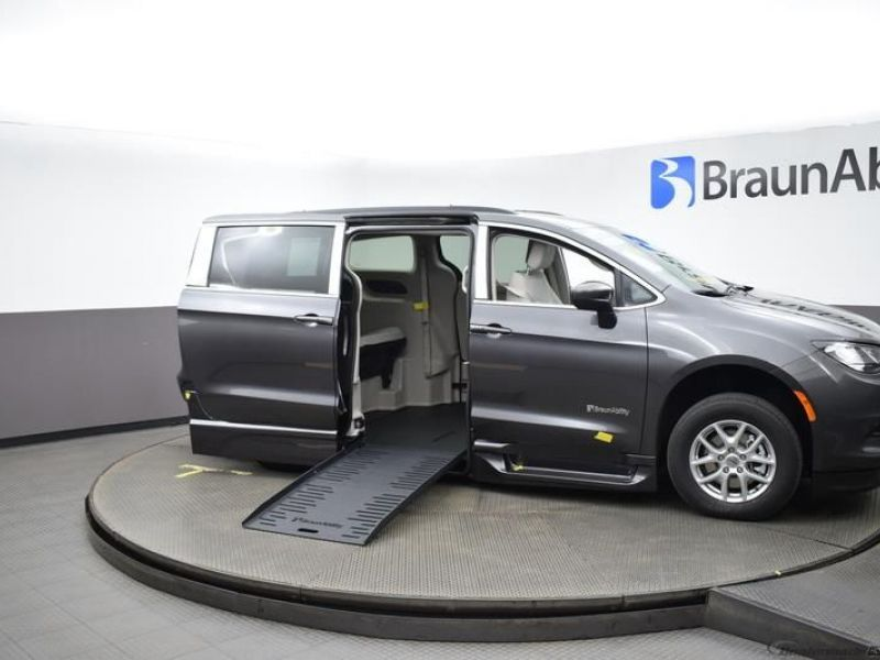 Gray Chrysler Voyager with Side Entry Automatic Fold Out ramp