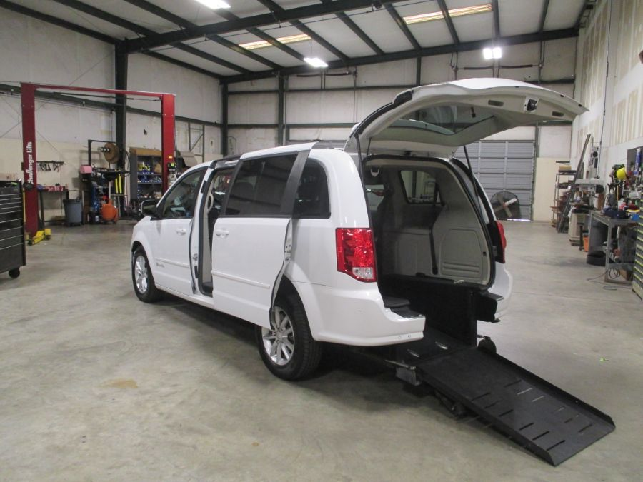 White Dodge Grand Caravan with Rear Entry Automatic  ramp