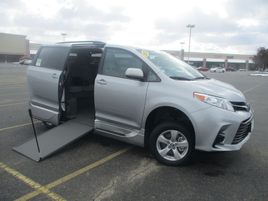 Silver Toyota Sienna with Side Entry Manual In Floor ramp