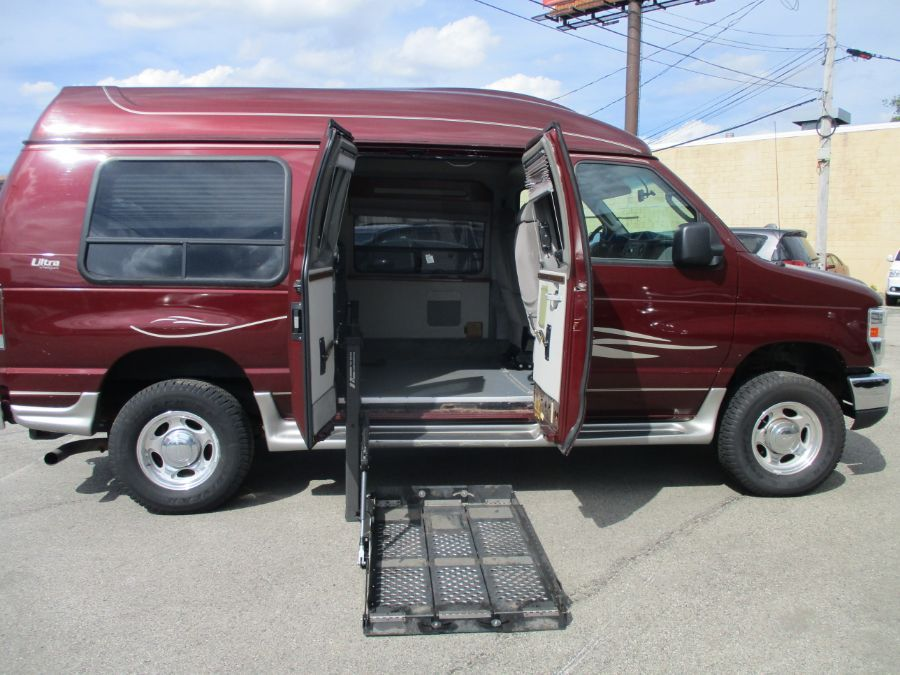 Red Ford Econoline with Side Entry   ramp