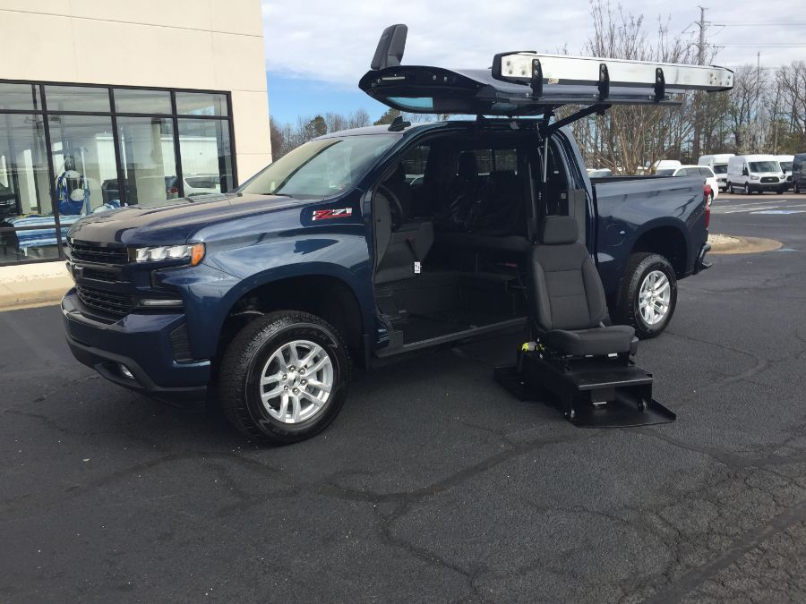 Blue Chevrolet Silverado 1500 with Side Entry Automatic In Floor ramp