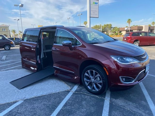 Red Chrysler Pacifica with Side Entry Automatic In Floor ramp