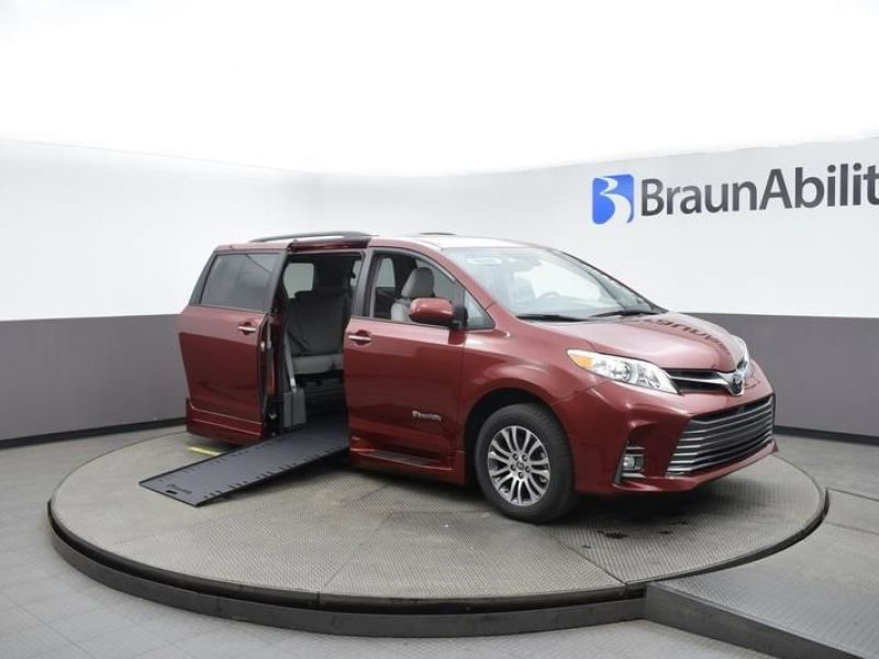 Red Toyota Sienna with Side Entry Automatic In Floor ramp
