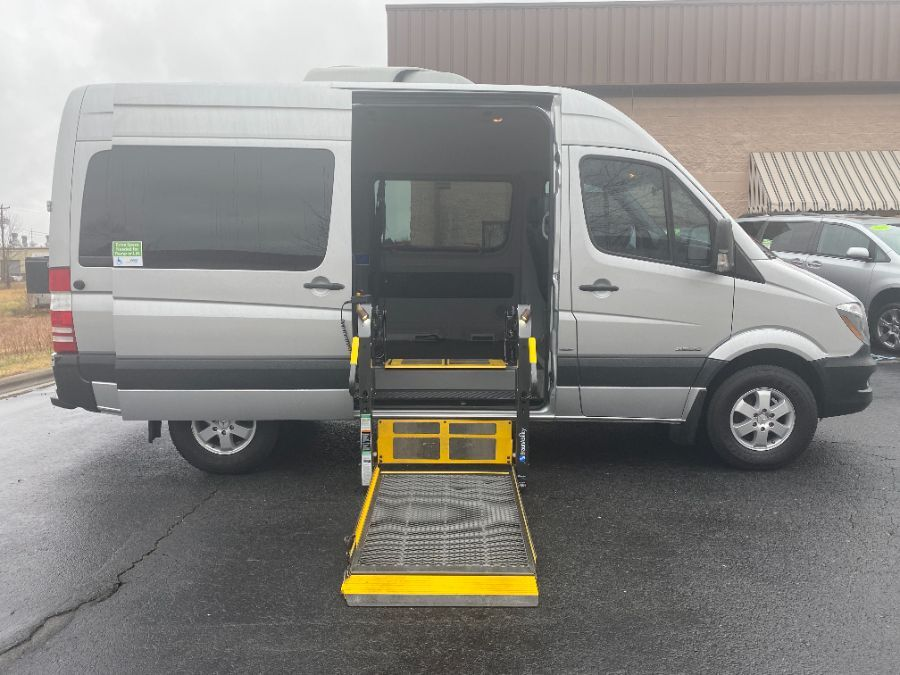 Silver Mercedes-Benz Sprinter Passenger with Side Entry Automatic  ramp