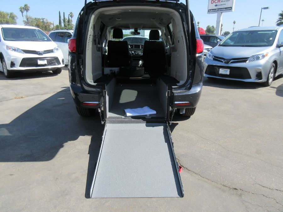 Silver Chrysler Pacifica with Rear Entry Manual Fold Out ramp