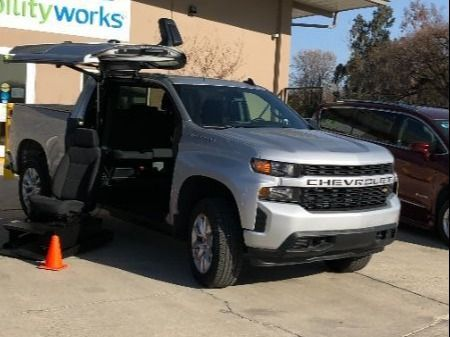 Silver Chevrolet Silverado 1500 4x2 with Side Entry Automatic In Floor ramp