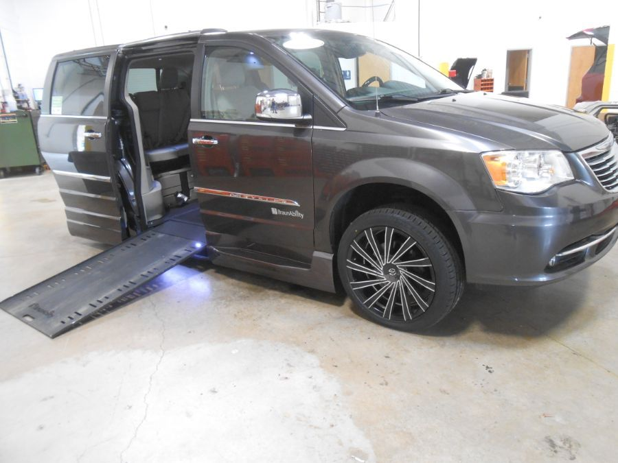 Gray Chrysler Town and Country with Side Entry Automatic In Floor ramp