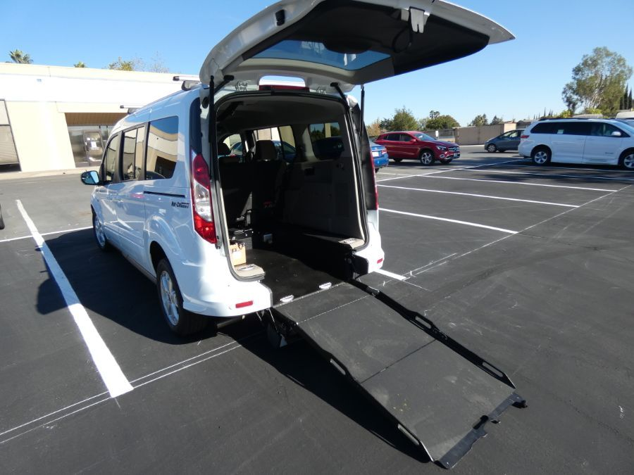 White Ford Transit Connect Wagon with Rear Entry Manual  ramp