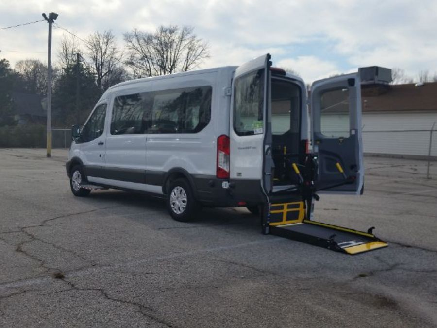 White Ford T350 with Rear Entry Automatic Fold Out ramp