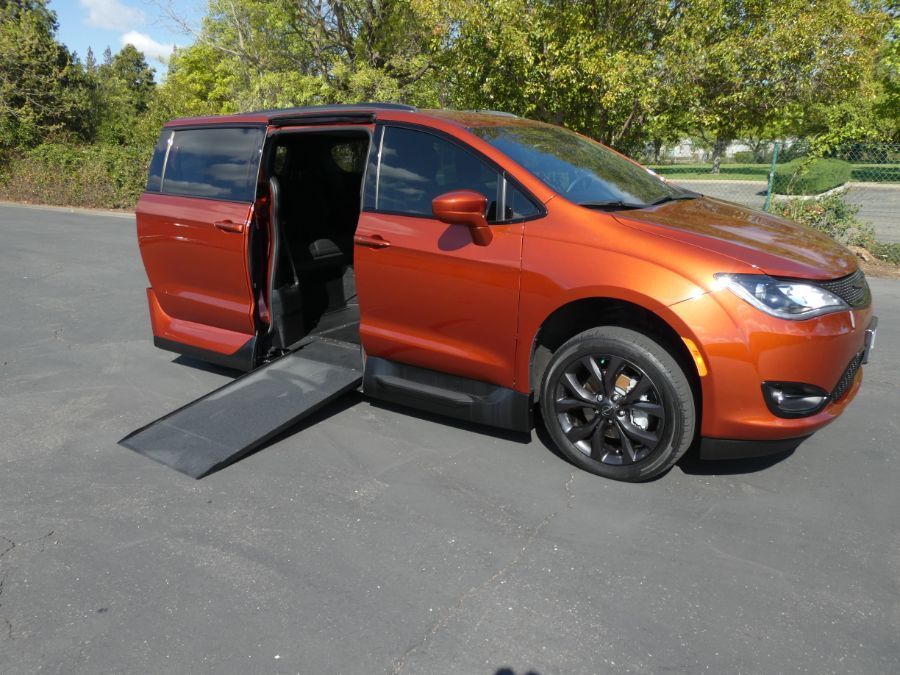 Orange Chrysler Pacifica with Side Entry Automatic In Floor ramp