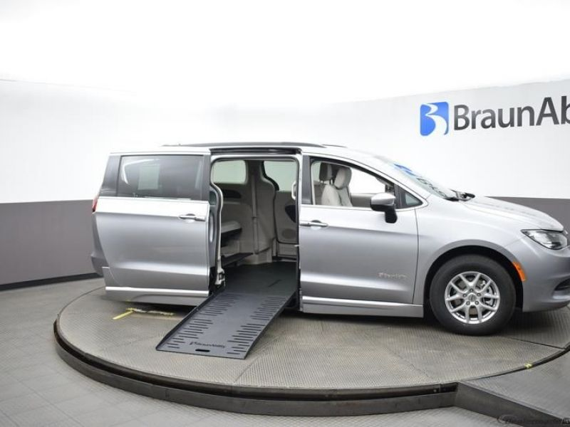 Silver Chrysler Voyager with Side Entry Automatic Fold Out ramp