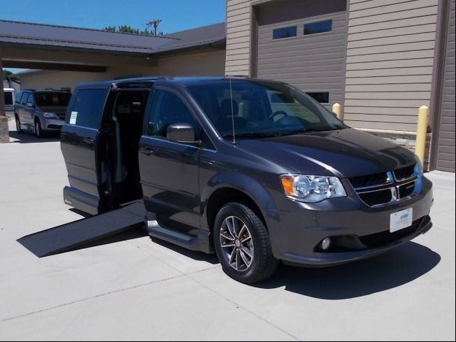 Gray Dodge Grand Caravan with Side Entry Automatic In Floor ramp