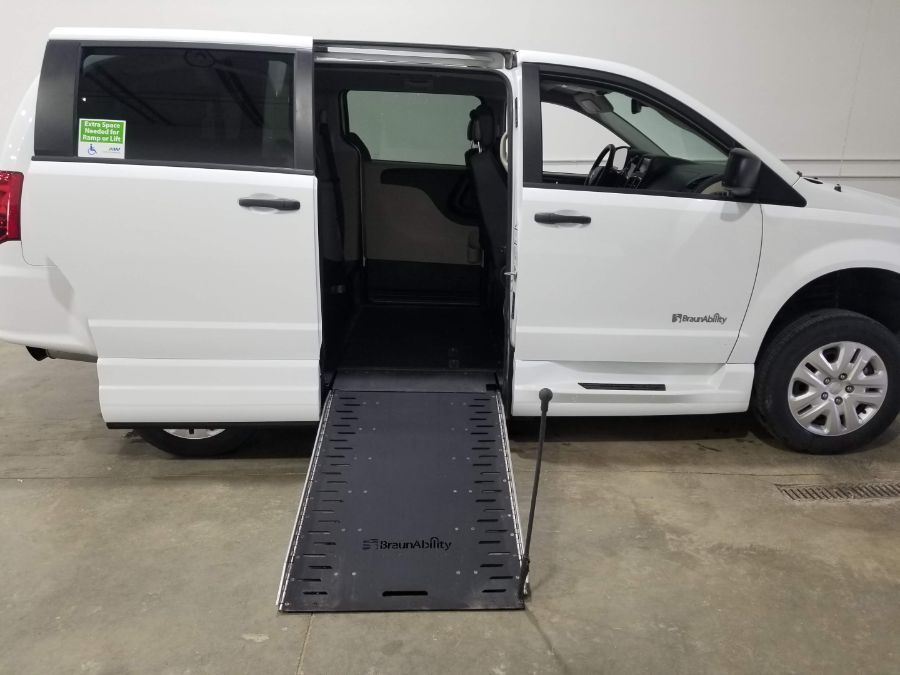 White Dodge Grand Caravan with Side Entry Manual  ramp