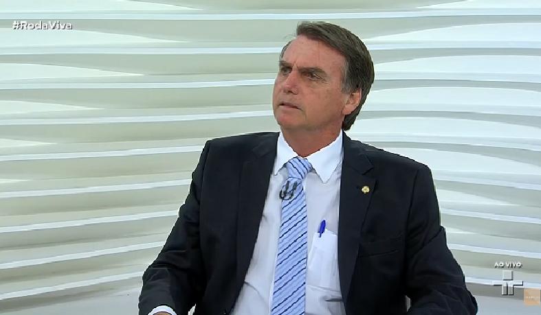 Bolsonaro durante entrevista a jornalistas no programa Roda Vida, da TV Cultura, nesta segunda-feira (30).