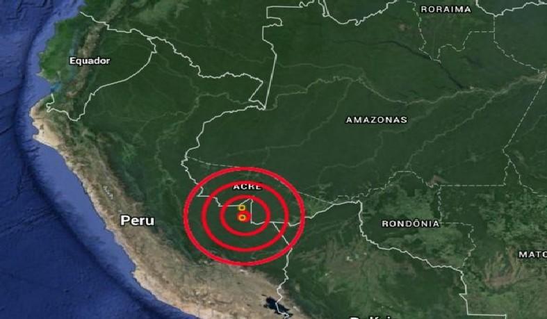 O epicentro foi registrado a 609, 5 km de profundidade e a 250 km da cidade de Puerto Maldonado, perto da fronteira do Brasil