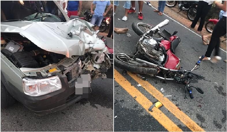 A colisão que aconteceu próximo a entrada do Bairro Morro dos Lopes
