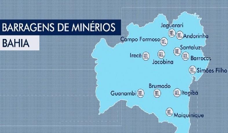 Segundo a Agência Nacional de Mineração (ANM), a Bahia tem 14 barragens de rejeitos, mas todas estão com fiscalização em dia e sem riscos de rompimentos.