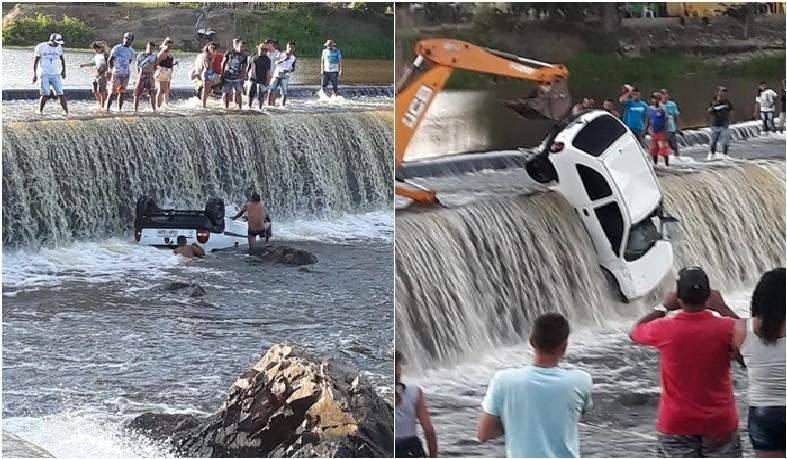 O veículo só foi retirado da barragem por volta das 16h30, com a ajuda de um guindaste