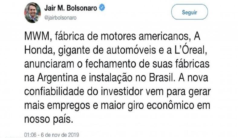 Publicação do mandatário brasileiro fez com que os principais jornais argentinos estampassem o fechamento das unidades como manchete