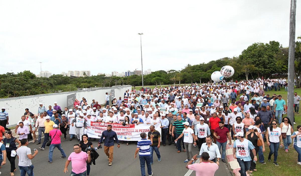 Prefeitos baianos em protesto no último dia 22.