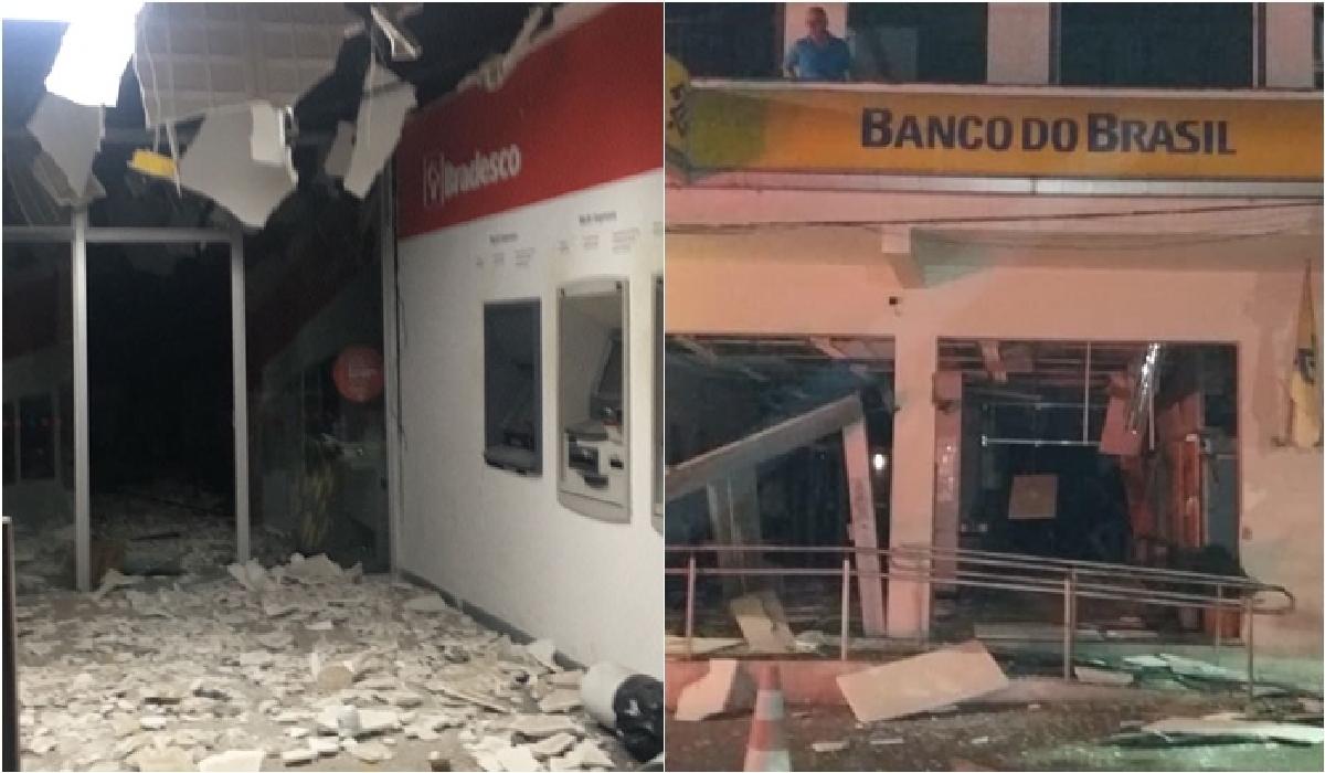 Agências bancárias foram assaltadas e ficaram parcialmente destruídas