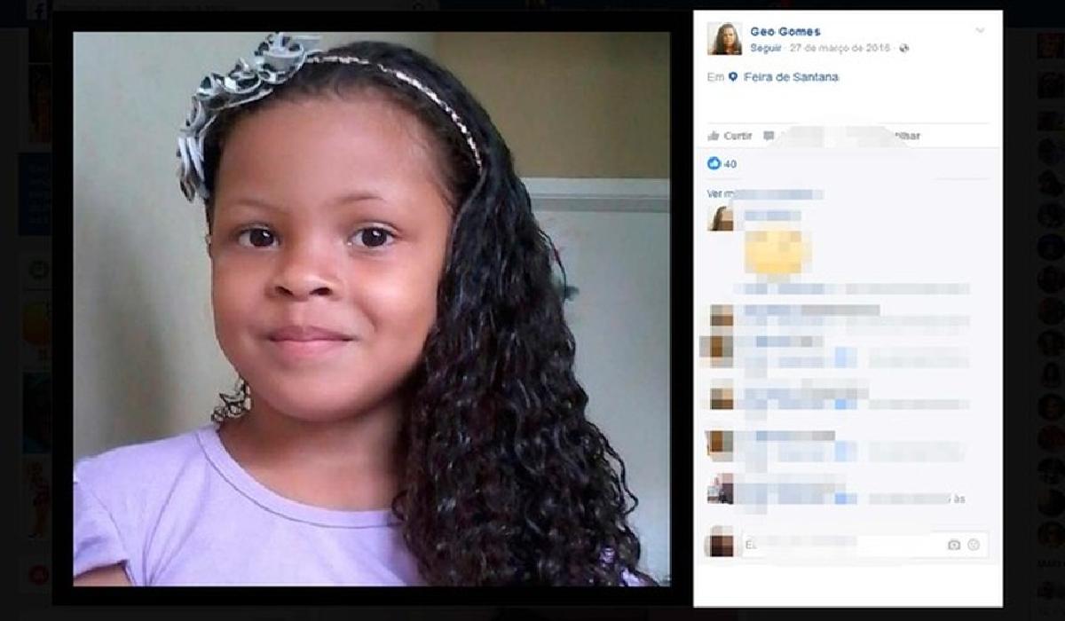 Gabrielly Gomes de 7 anos sumiu e depois foi encotrada morta na Bahia