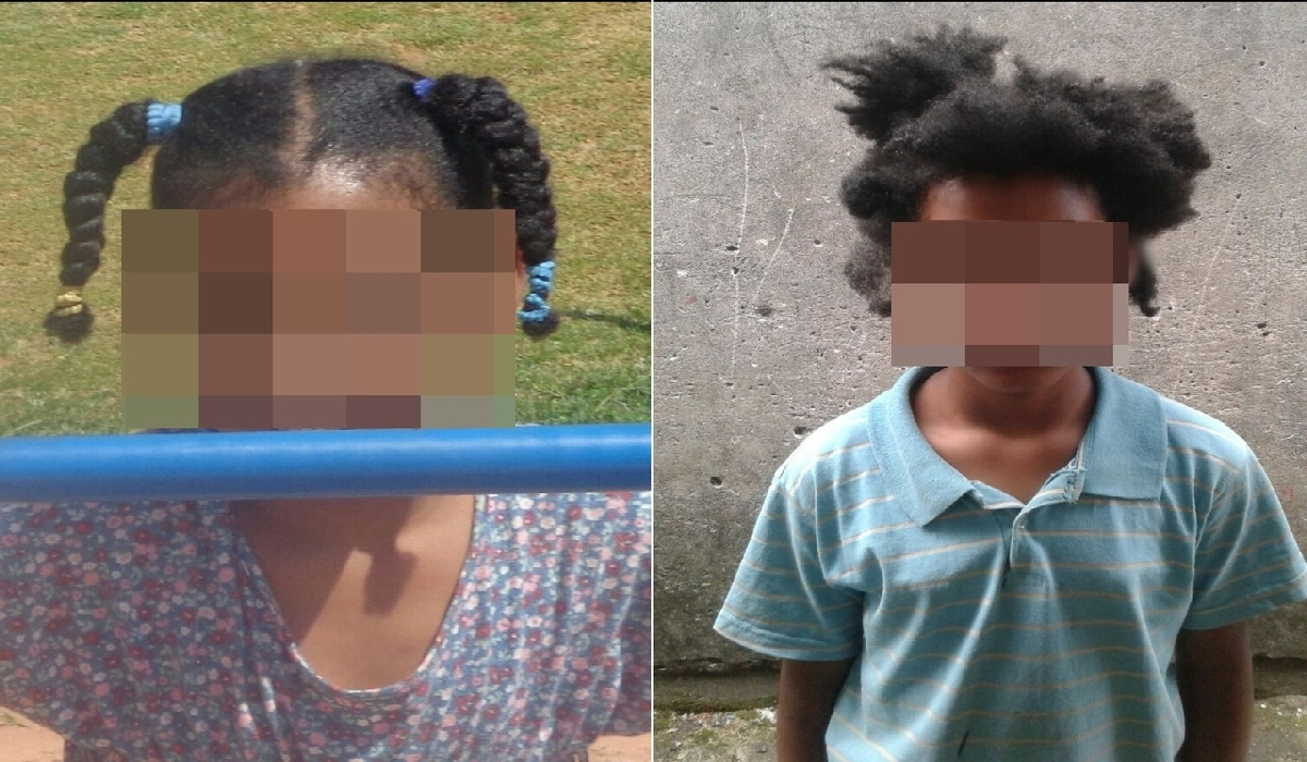 À esquerda, menina antes de ter o cabelo cortado; à direita, depois do corte. Segundo família, parentes obrigaram criança a cortar o cabelo