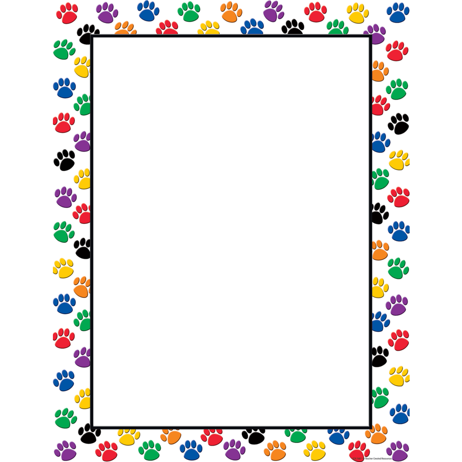TCR 7687 COLORFUL PAW PRINTS BLANK CHART