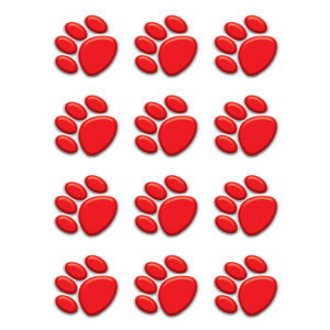 TCR 5119 RED PAW PRINTS MINI CUTOUTS